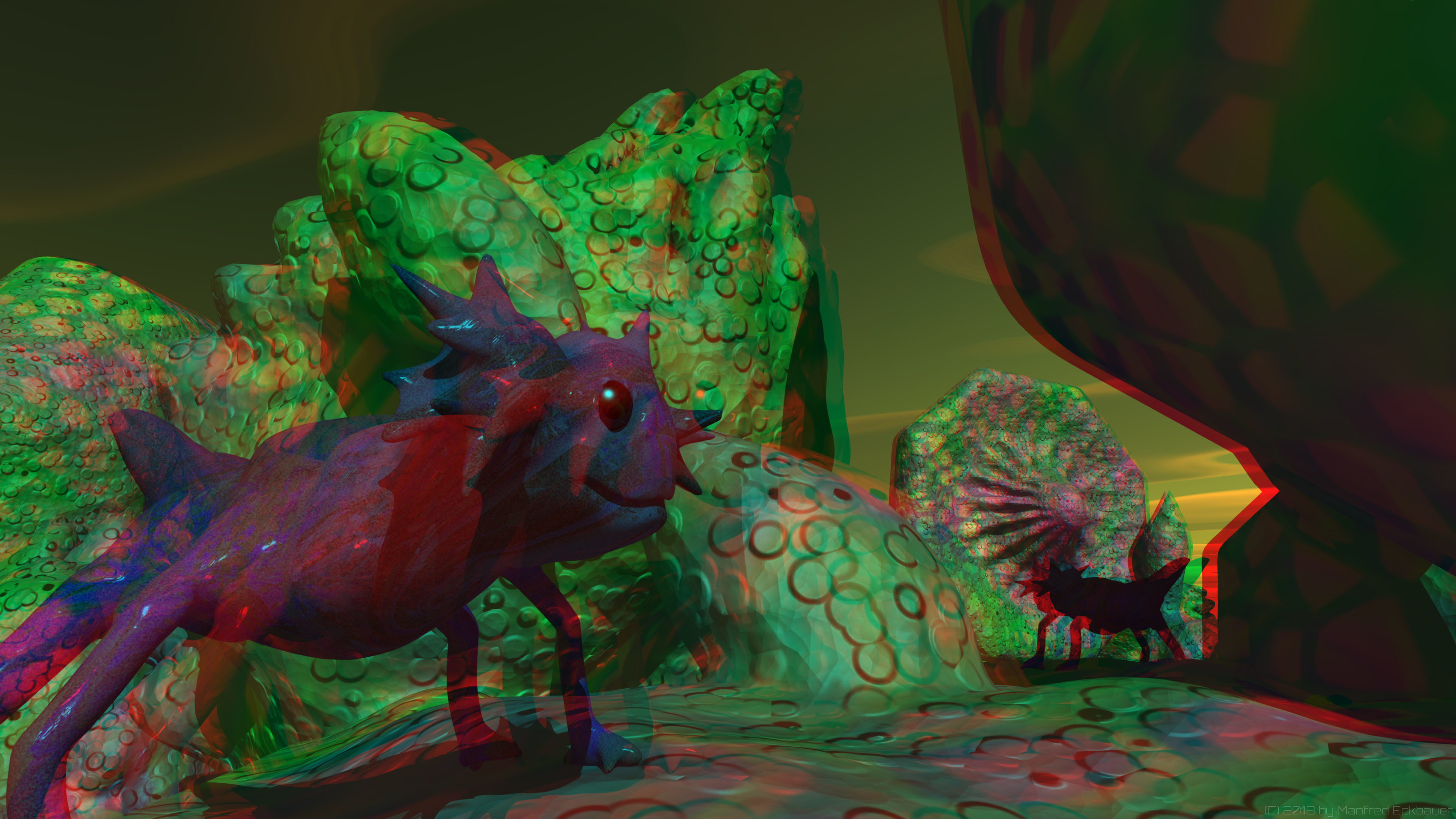 Anaglyph Creature 3D (use red/green glasses)
