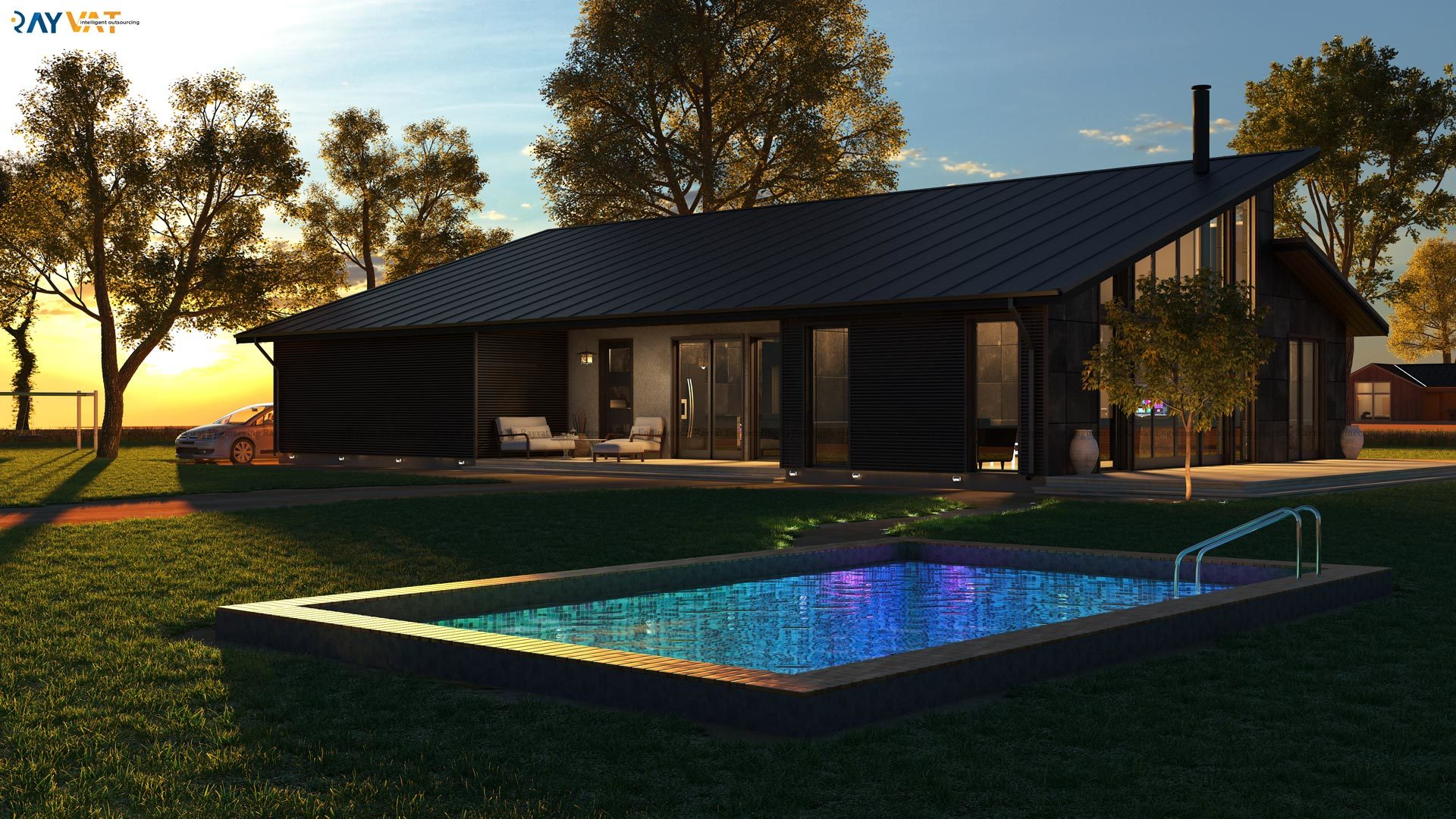 3d Exterior Home Design Chicago By Rayvatrendering 3d Studio Max Landscape