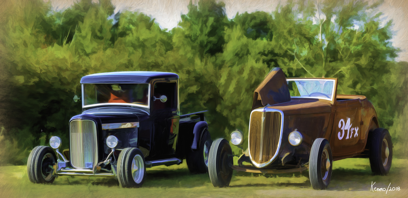 Two Old Hot Rods by kenmo 2D Transportation