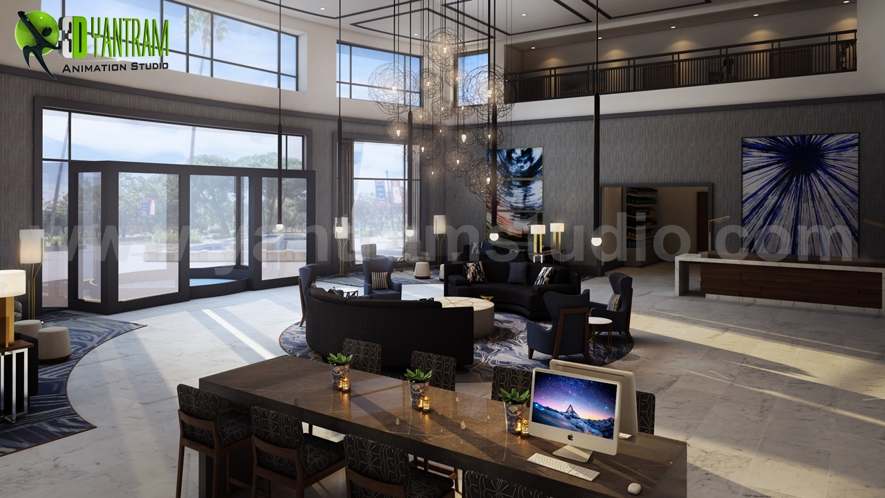3D Hotel lobby Interior design firms Virginia, USA by