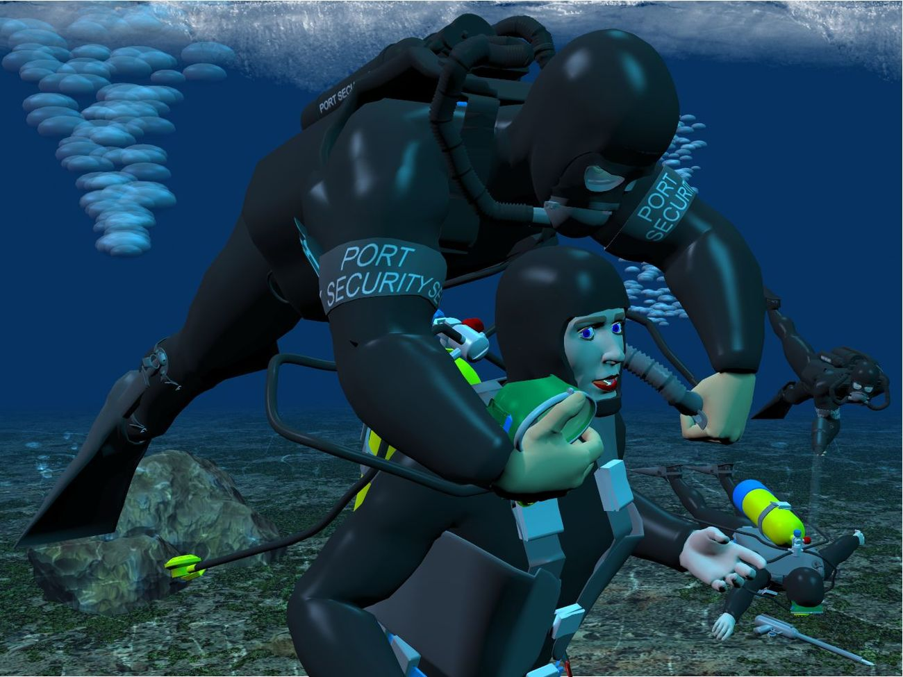 Harbor Patrol frogmen catch two more by Anthony Appleyard