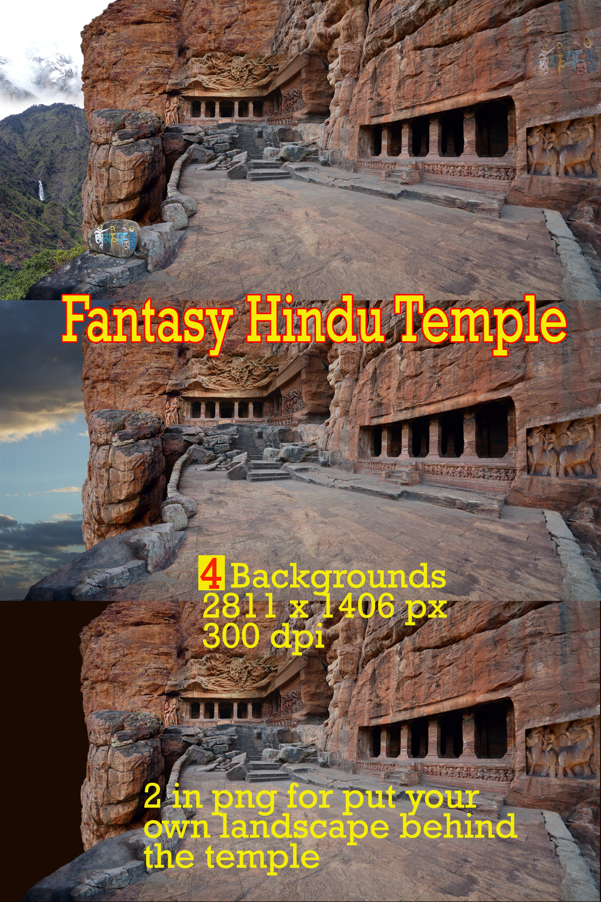 BACKGROUNDS OF A CARVED HINDU TEMPLE
