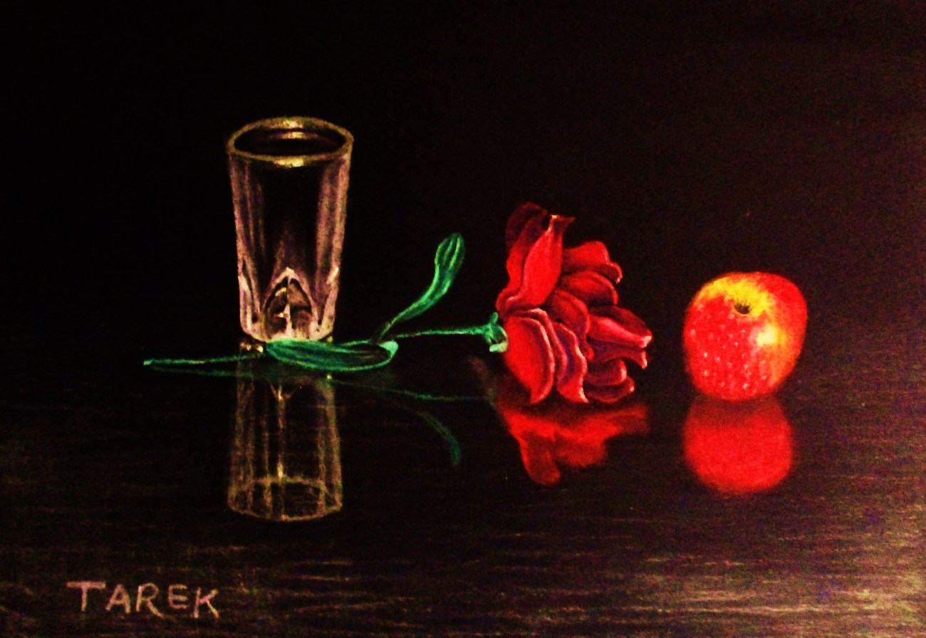 Glass , Flower and Apple 004