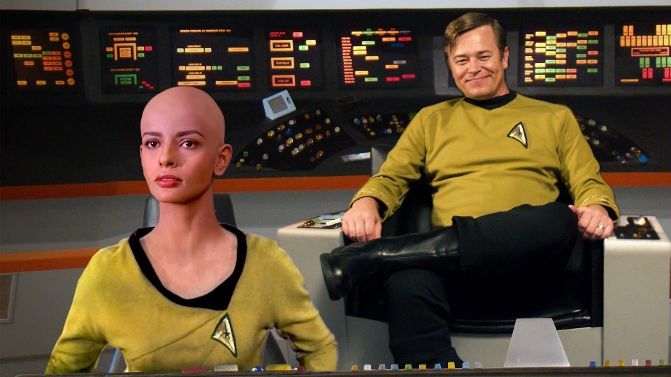 Ensign Ilia on the USS Saladin with Captain Martin