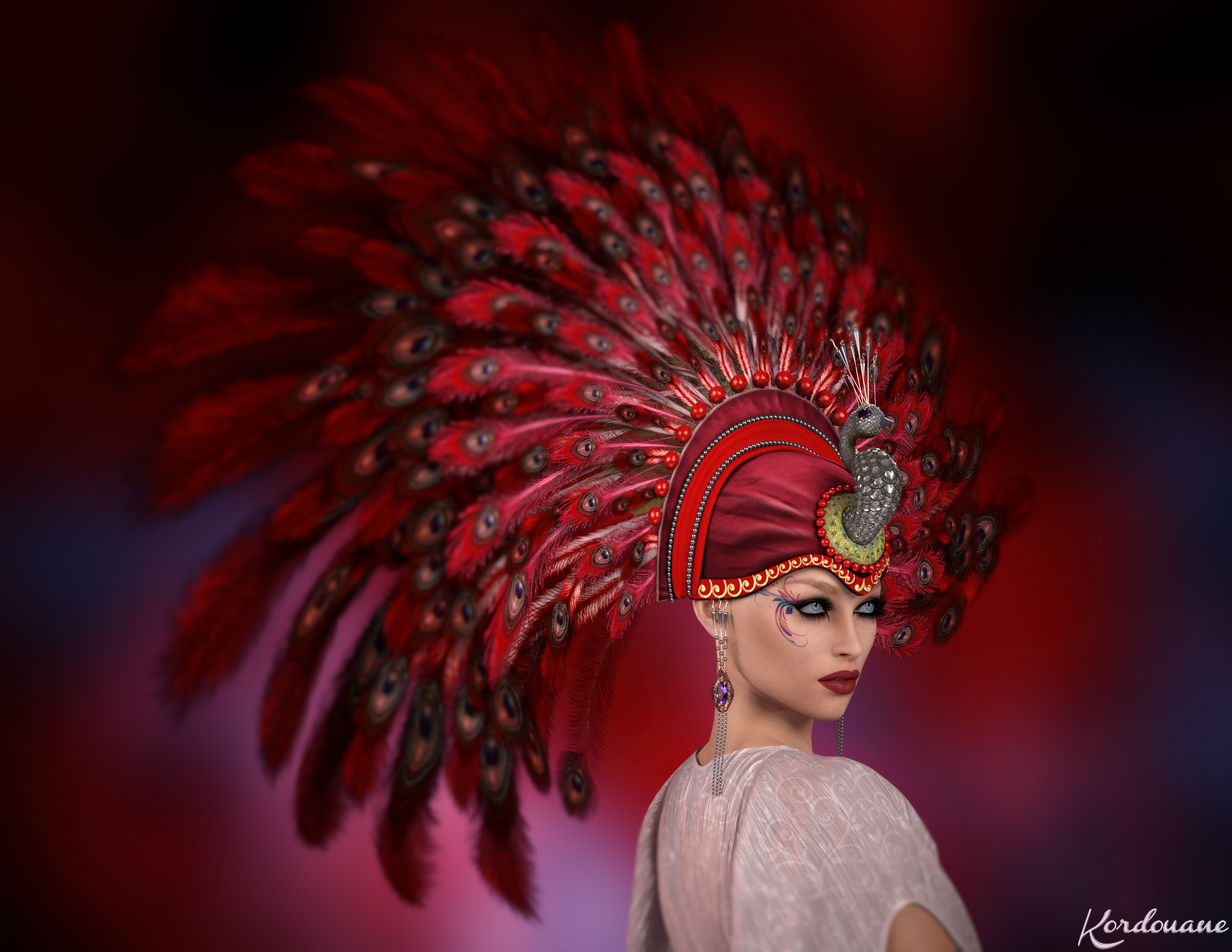 Portrait with headdress 1920's in red