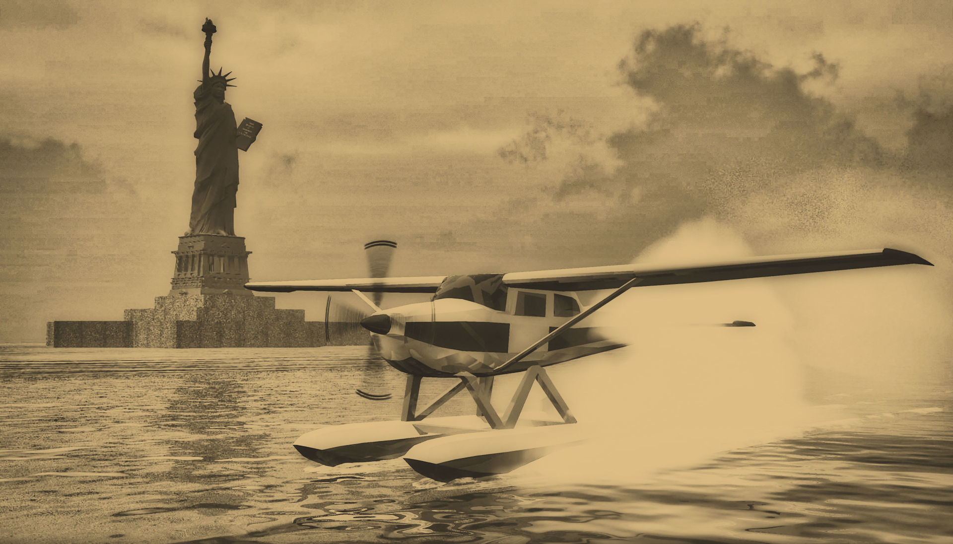 The Statue of Liberty and seaplane