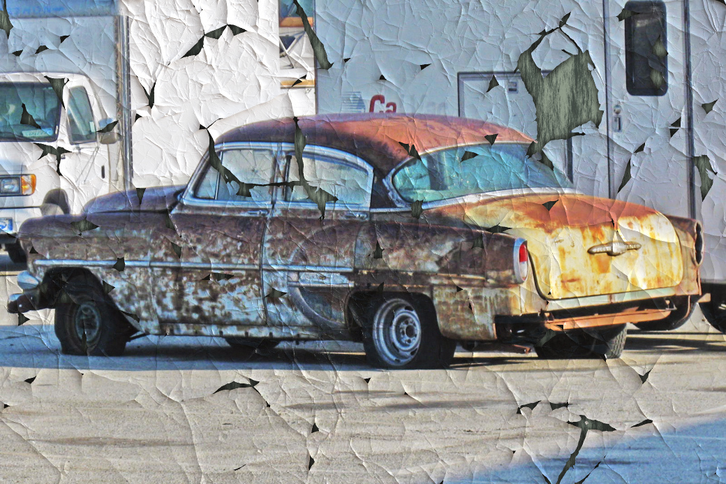 Peeling paint on a Chevy