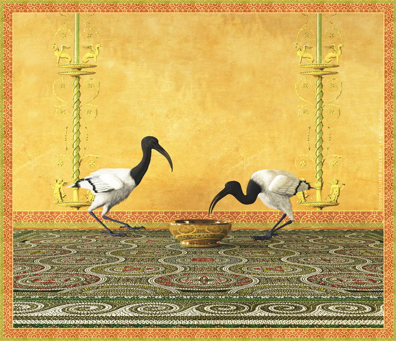 Two Ibis next to a frescoed wall