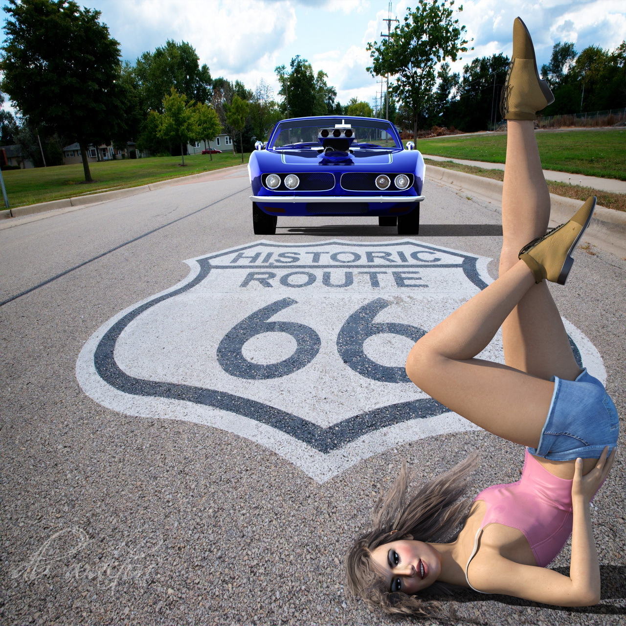 Charly on Route 66... literally (PG13)