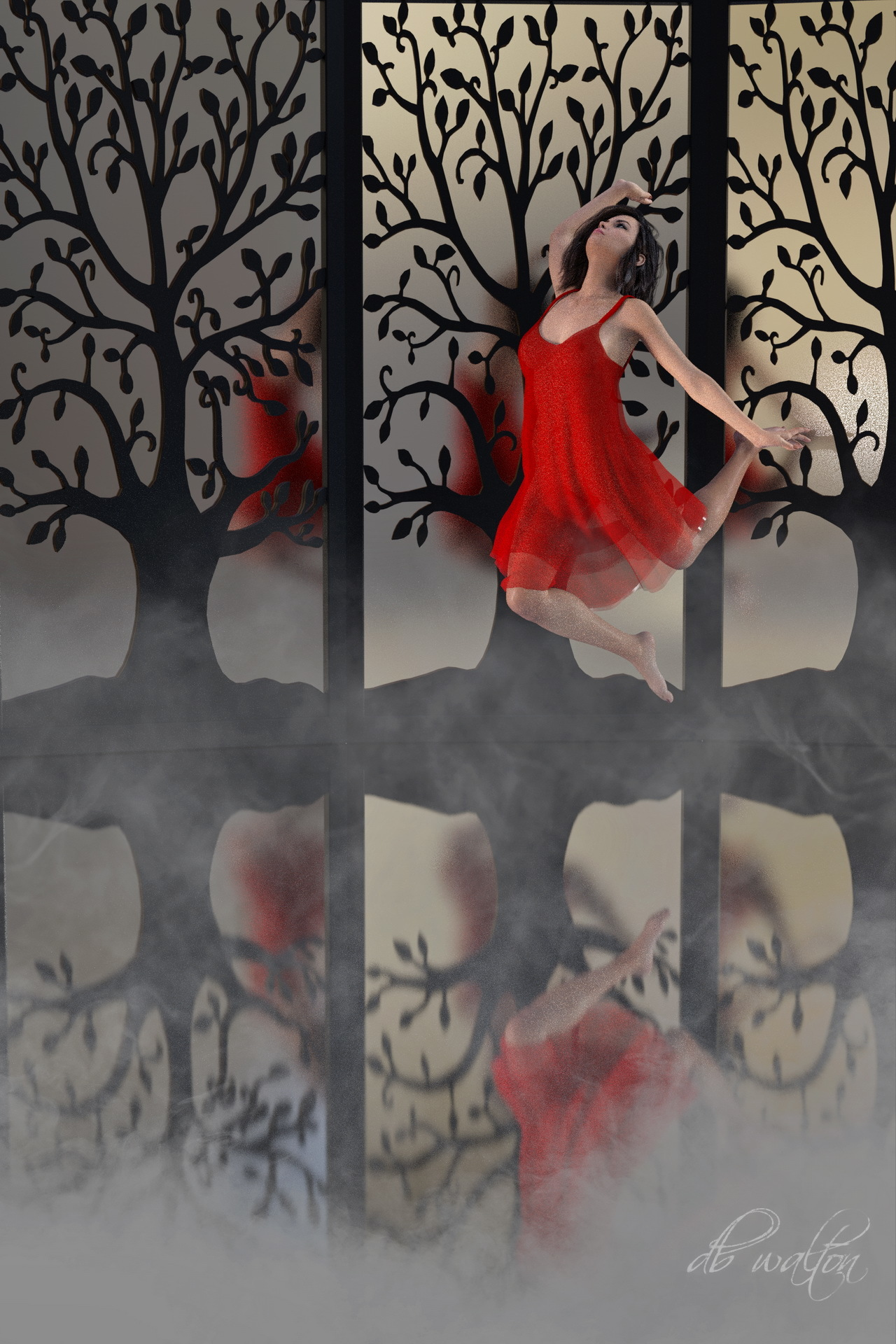 Leaping Lady in Red