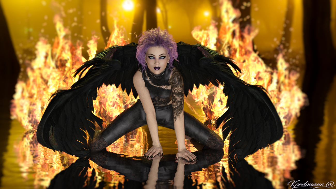 Black angel between water and fire