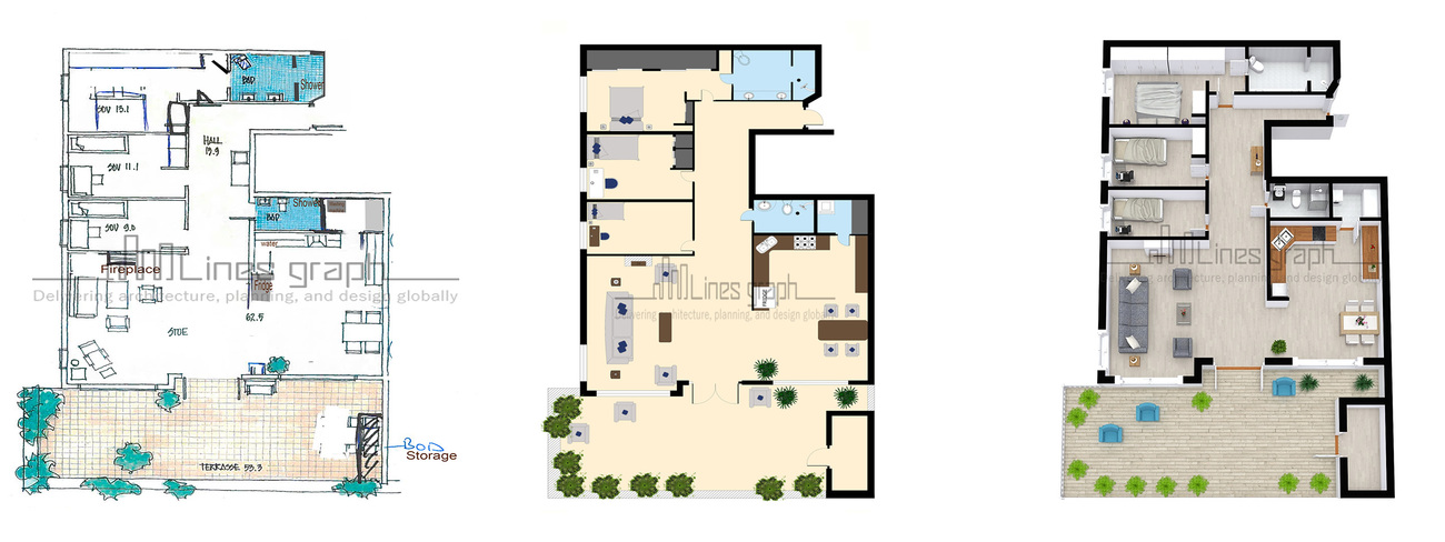 Floor Plan Conversion: Hand Drawn to 2D Colored Fl by stephenjain