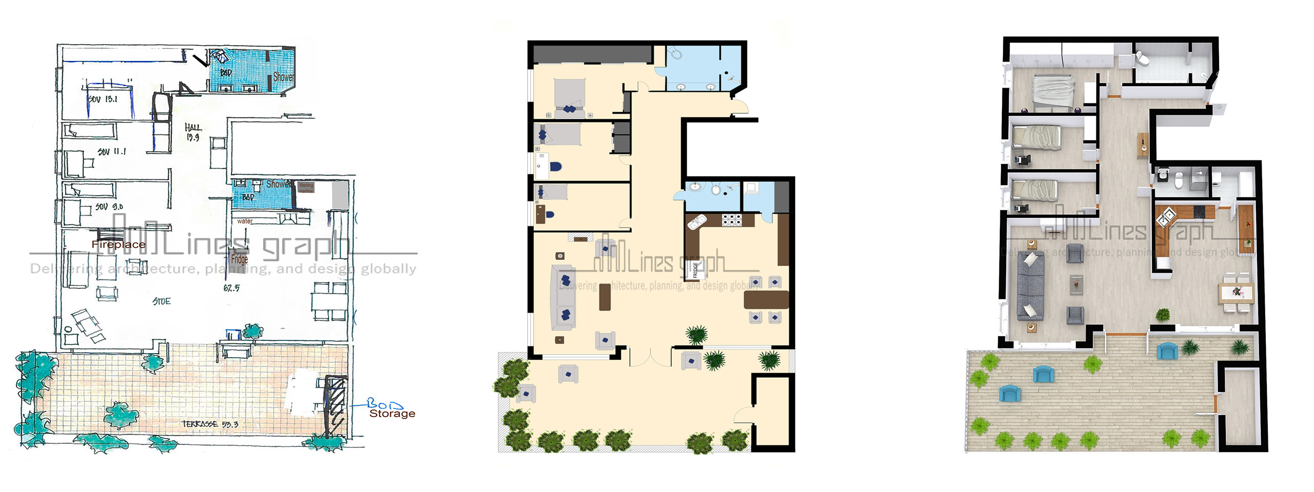 Floor Plan Conversion: Hand Drawn to 2D Colored Fl