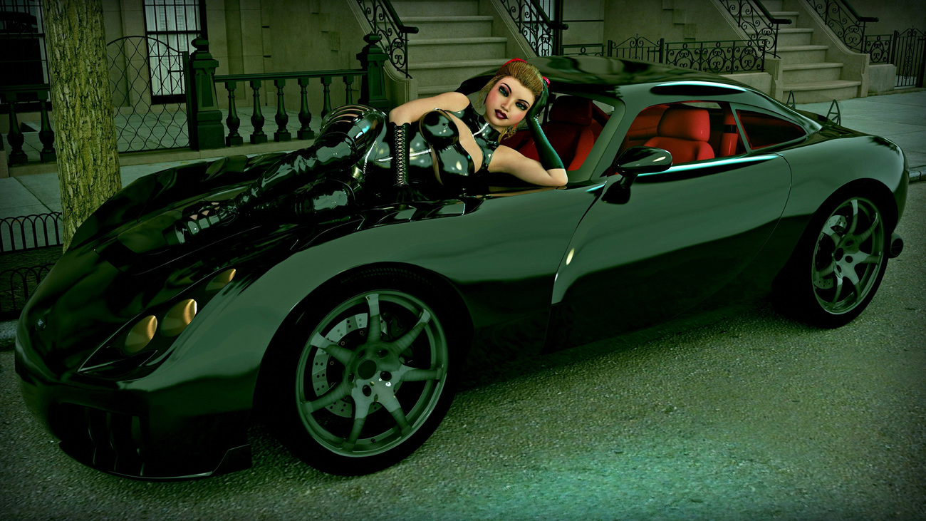 Maggie with Sports Car #1
