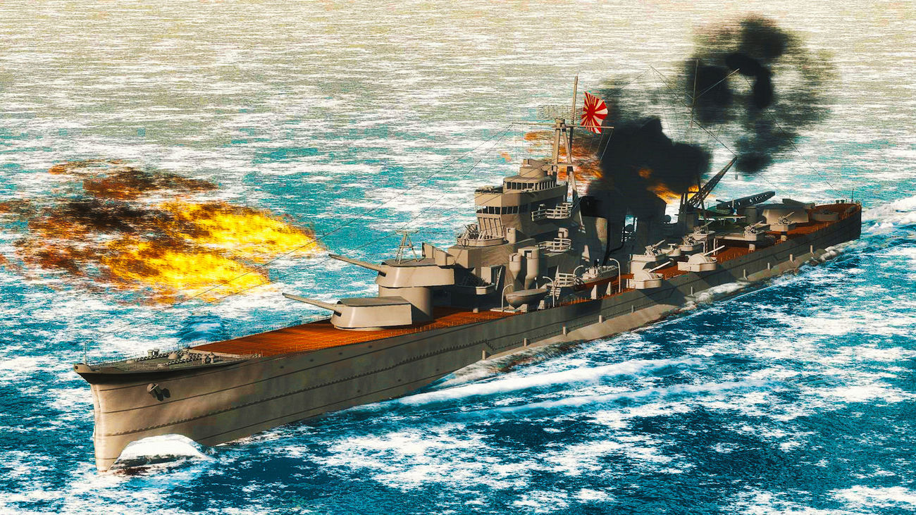 Bombardment IJN Heavy-Cruiser AOBA by Ark_Pilot