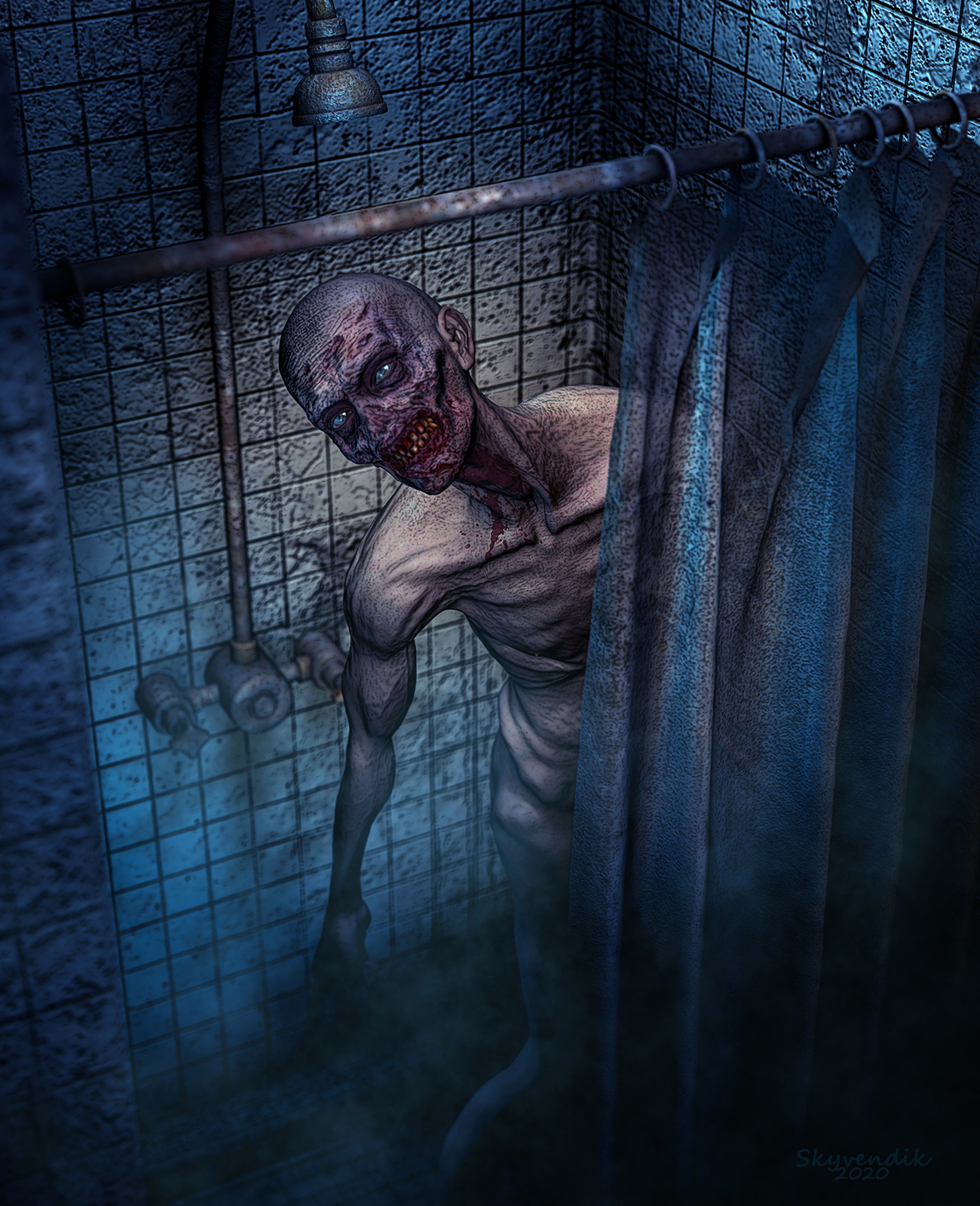 Zombie in the shower by skyvendik