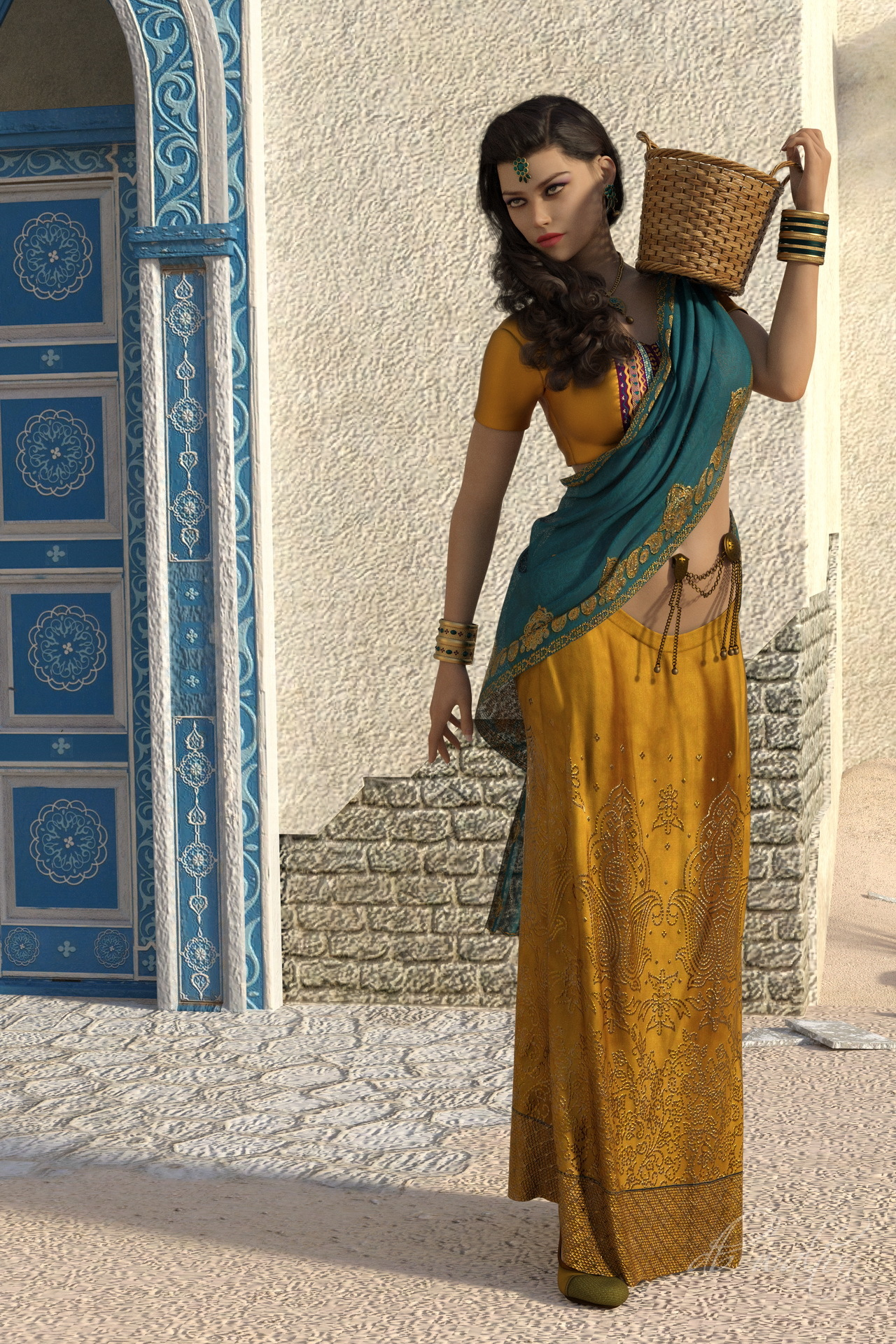 Indian Woman Going to the Market by dbwalton