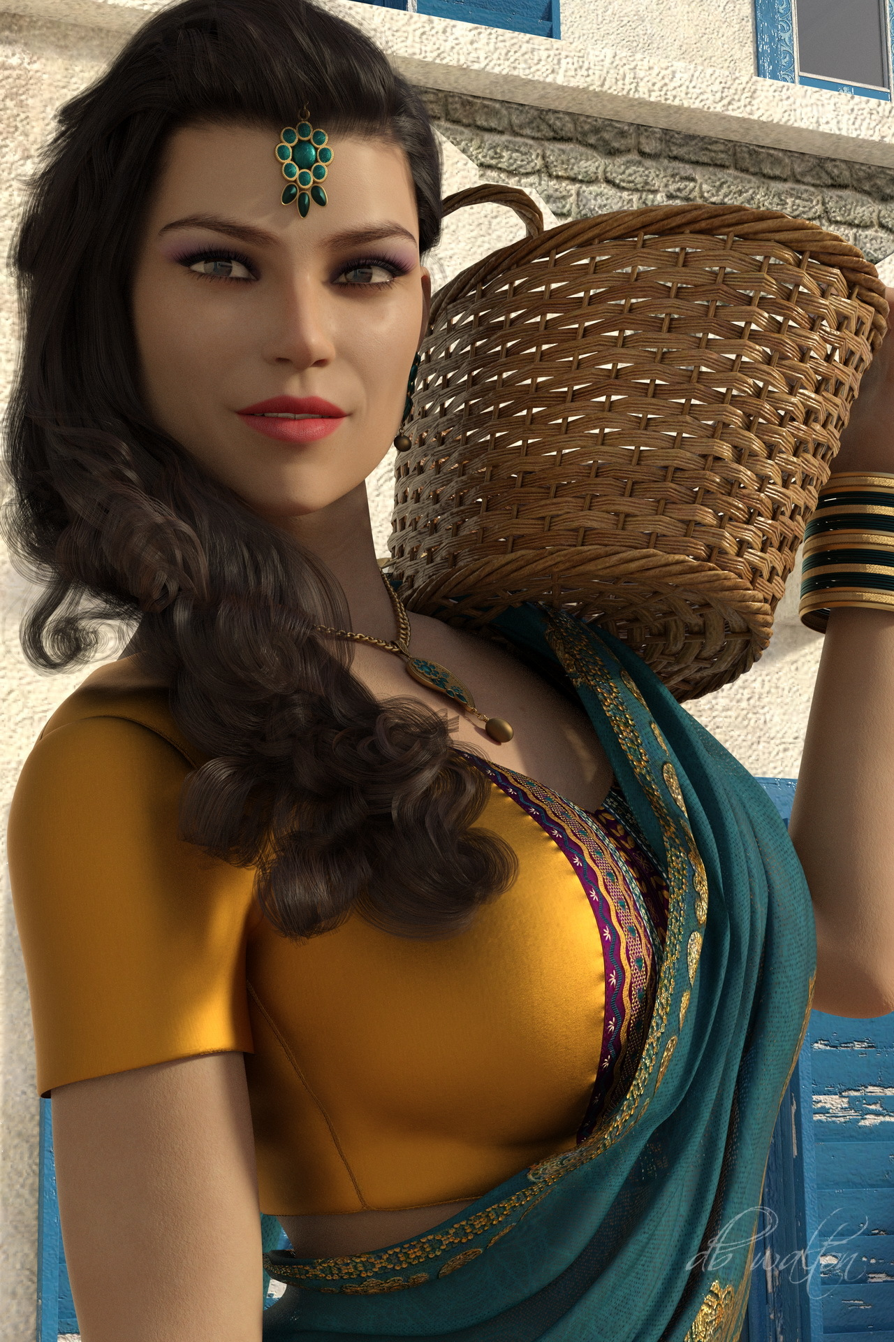 Indian Woman and Basket