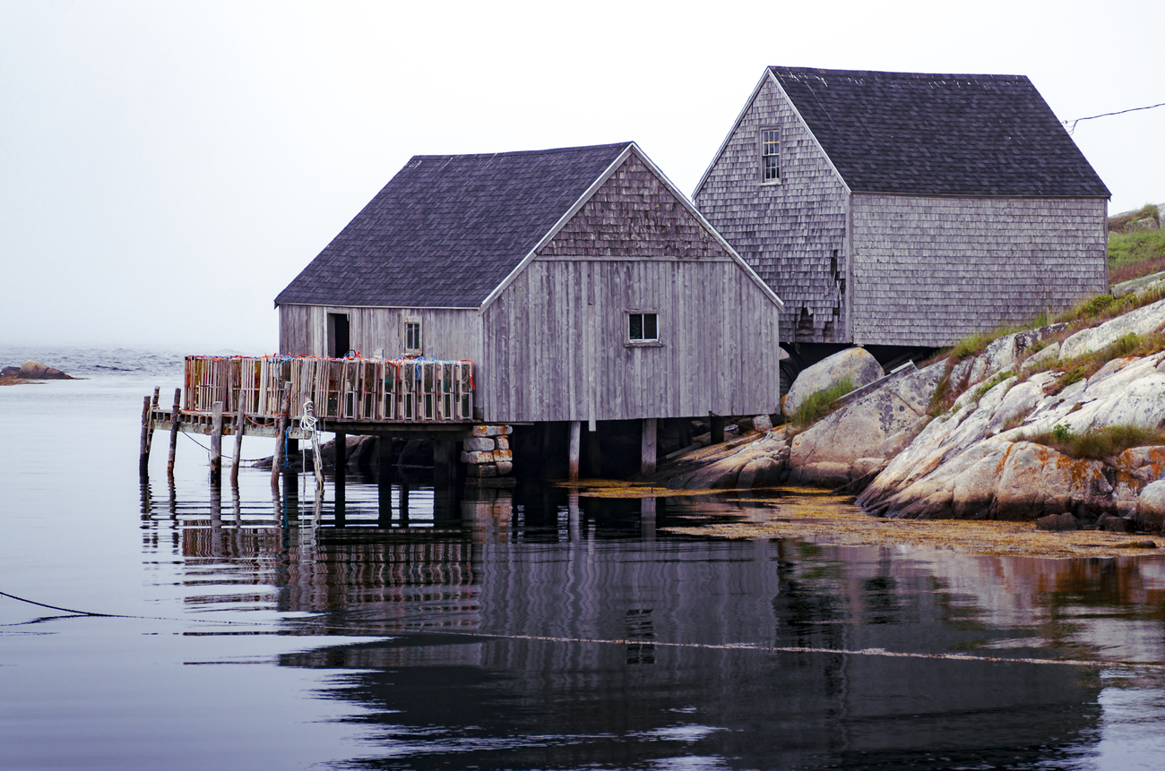 Fishing Sheds on a Foggy Day in Peggy's Cove by kenmo