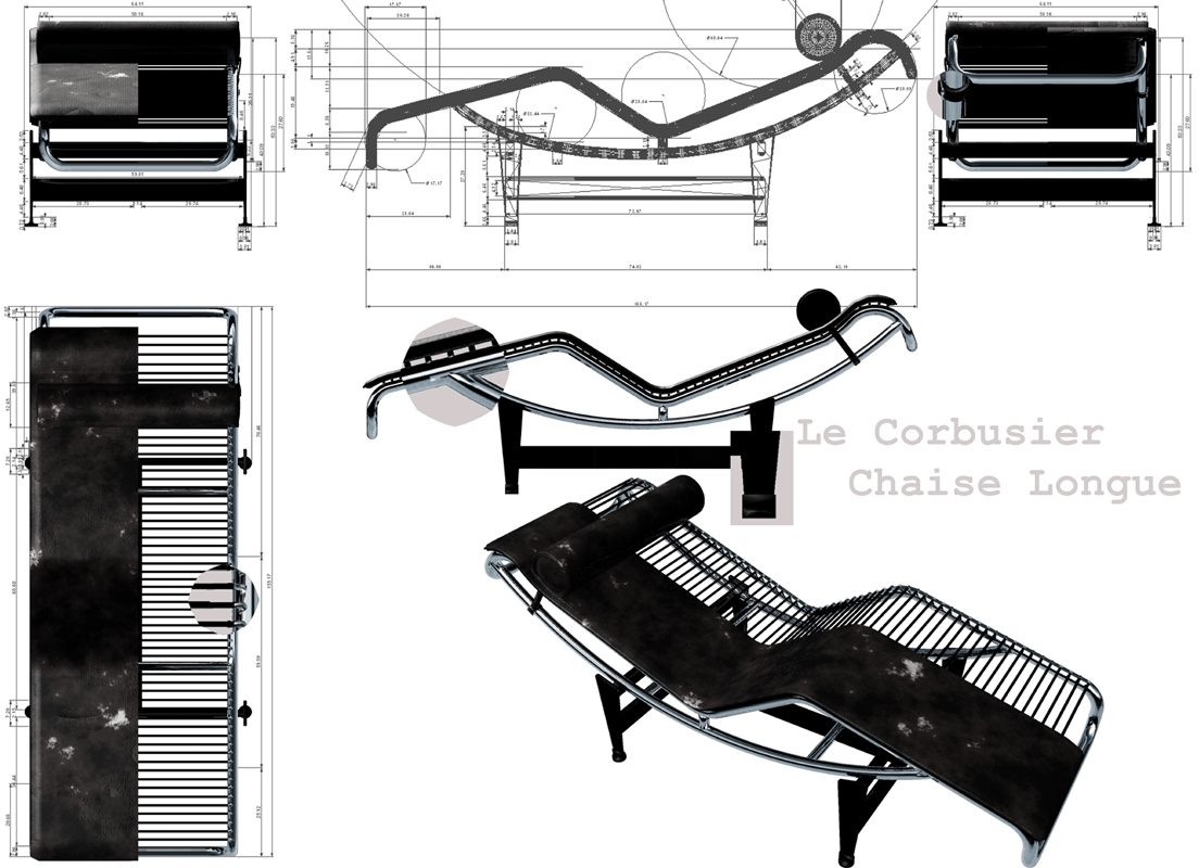 le corbusier chaise longue by black maya. Black Bedroom Furniture Sets. Home Design Ideas