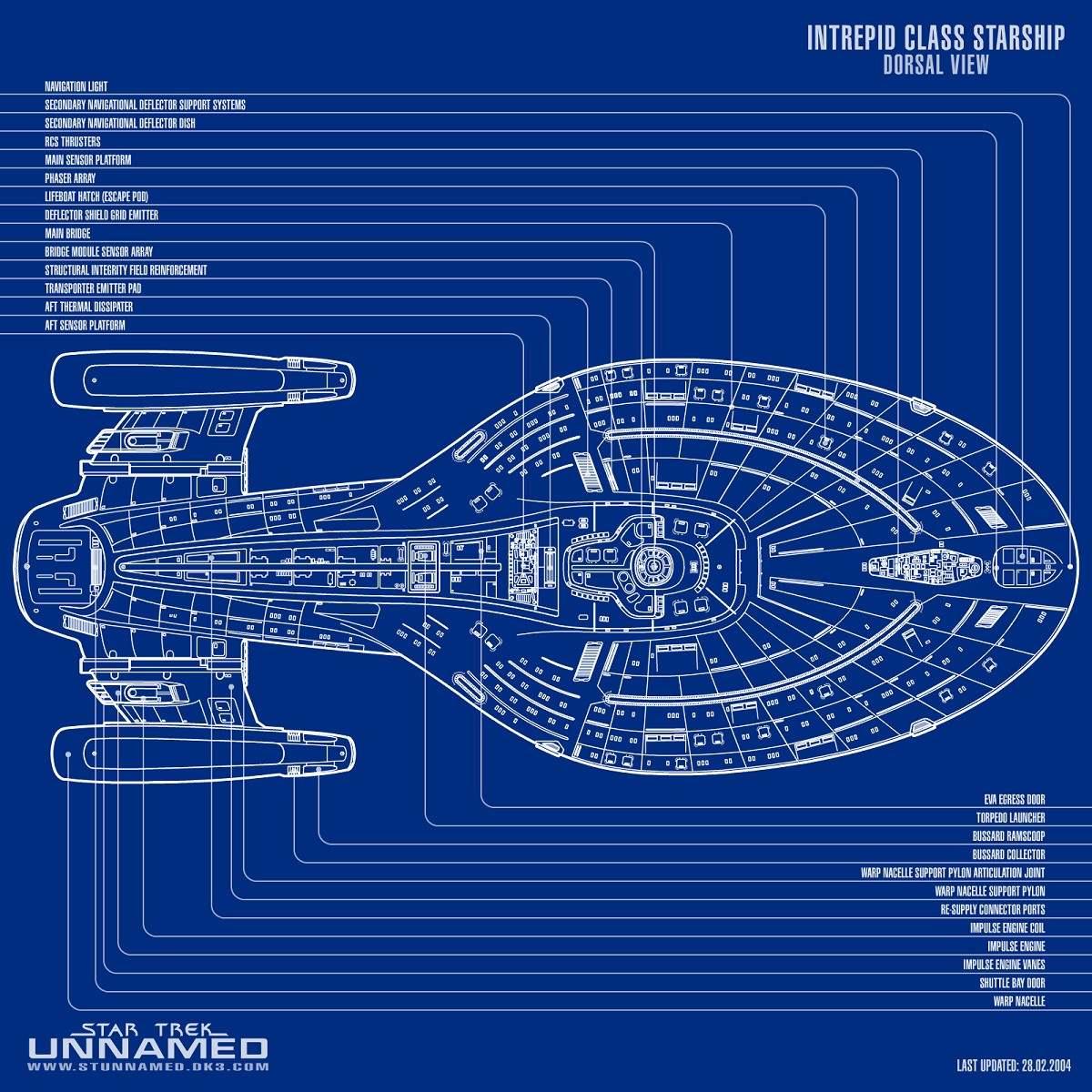 Intrepid Class Starship Schematic Dorsal View By Napalmking 2d Spaceship Engine Diagram