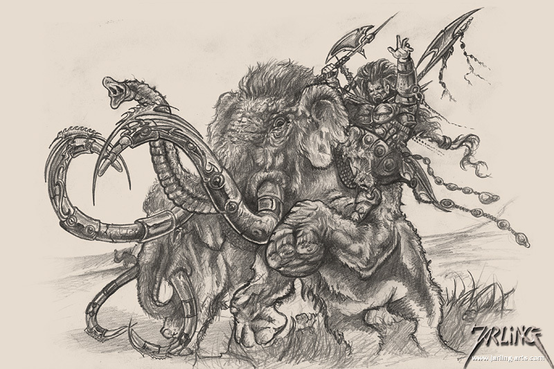 Mammoth Riders Sketch
